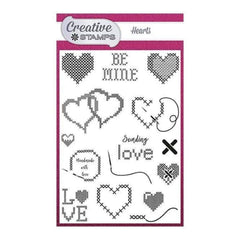Creative Stamps A6 Stamp Set Hearts Set of 15 - Cross Stitch Collection