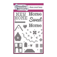 Creative Stamps A6 Stamp Set Home Sweet Home Set of 28 - Cross Stitch Collection