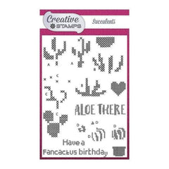 Creative Stamps A6 Stamp Set Succulents Set of 15 - Cross Stitch Collection