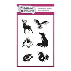 Creative Stamps A6 Stamp Set - Watercolour Animals - Set of 6