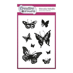 Creative Stamps A6 Stamp Set - Watercolour Butterflies - Set of 8 stamps