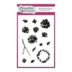 Creative Stamps A6 Stamp Set - Watercolour Flowers - Set of 14