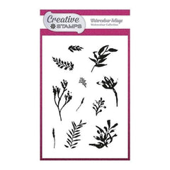 Creative Stamps A6 Stamp Set - Watercolour Foliage - Set of 11