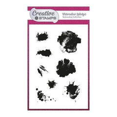 Creative Stamps A6 Stamp Set - Watercolour Splodges - Set of 8