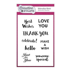 Creative Stamps A6 Stamp Set - Watercolour Words Sentiment - Set of 8