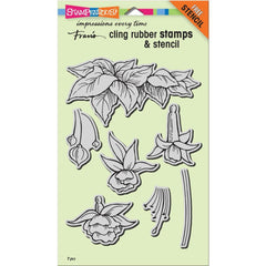 Stampendous Cling Stamp with Template Set - Fuchsia Trio