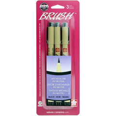 Pigma-Brush Pens 3 pack - Black