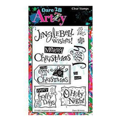 Dare 2B Artzy Clear Stamps 4X6 Sheet Jinglebell Wishes