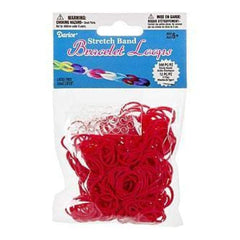 Darice - Mini Rubber Bands 300 Pack  With 12 Clips - Red