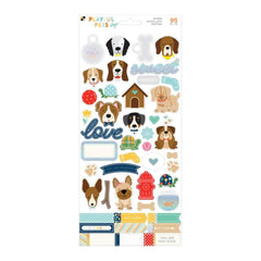 DCWV - Playful Pets Cardstock Stickers 5.5X12in 2 pack - Dogs with Iridescent Glitter Accents