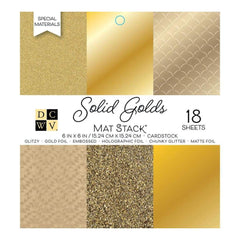 DCWV Cardstock Stack 6 inch X6 inch 18 pack Solid Golds with Specialty Finishes