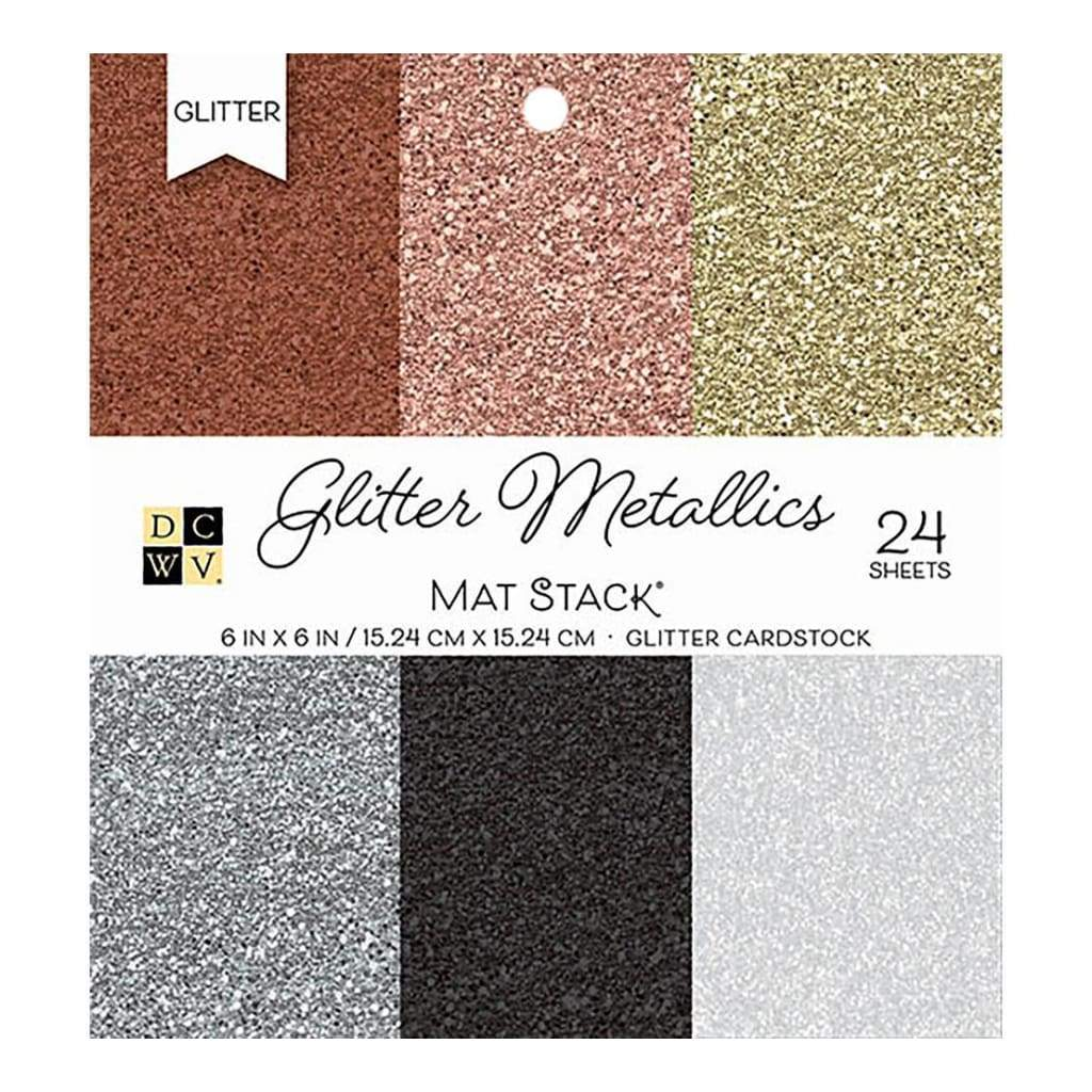 DCWV Cardstock Stack 6 inch X6 inch 24 pack Glitter Metallics Solid