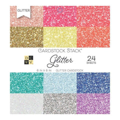 DCWV Cardstock Stack 6X6 24 pack Glitter, 12 Designs 2 Each