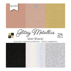 DCWV Single-Sided Card stock Stack 6X 6 24/Pkg Glitzy Metallics With Glitter, 6 Designs