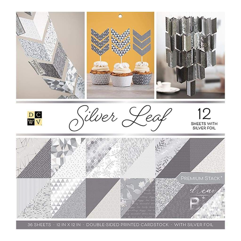 DCWV Double-Sided Paper Stack 12 inch X12 inch 36 pack Silver Leaf with Silver Foil