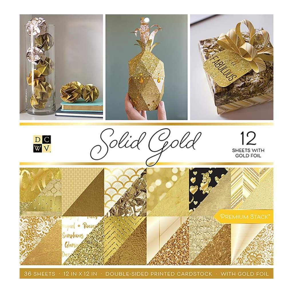 DCWV Double-Sided Paper Stack 12 inch x12 inch Solid Gold with Gold Foil