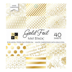 DCWV Single-Sided Cardstock Stack 6inch X6inch  40 pack  Gold Foil - White with Gold Foil