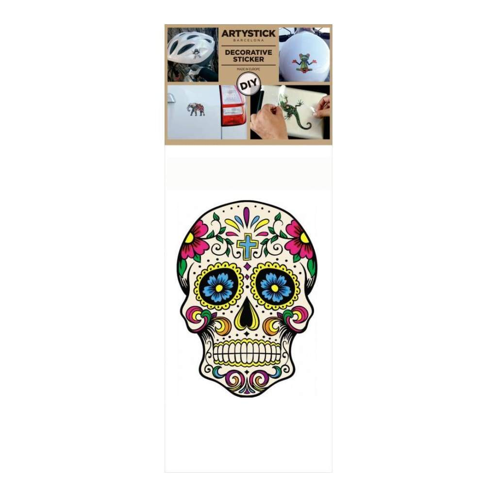 Decorprint Artystick Decorative Stickers 3.75 inch X7.75 inch Hippie Skull 2