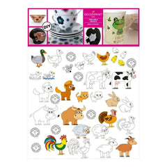 Decorprint Peelable Decals 7.75 inch X7.75 inch Colouring Farm