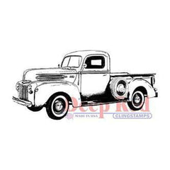 Deep Red Cling Stamp 3Inch X1.25Inch - Classic Pickup Truck