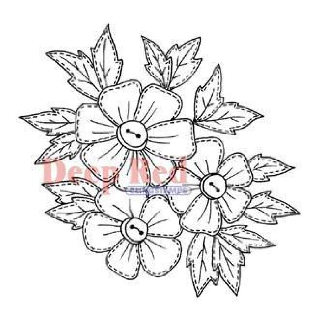 Deep Red Rubber Stamps - Stitched Flowers