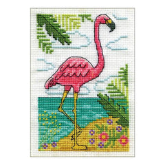 Design Works Stitch & Mat Counted Cross Stitch Kit 3 inch X4.5 inch Flamingo (18 Count)