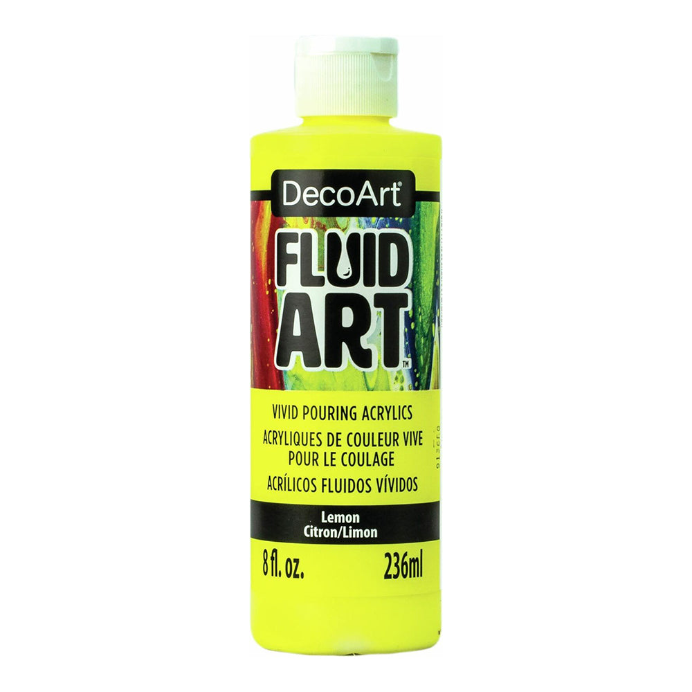 DecoArt - FluidArt Ready-To-Pour Acrylic Paint 8oz - Lemon