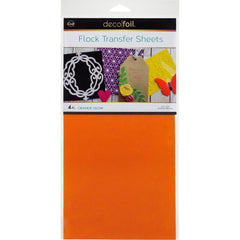 Deco Foil Flock Transfer Sheets 6inch X12inch 4 pack - Orange Glow
