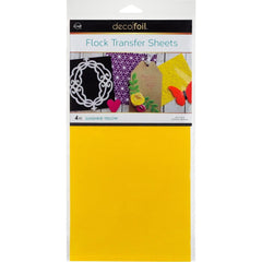 Deco Foil Flock Transfer Sheets 6inch X12inch 4 pack - Sunshine Yellow