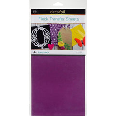 Deco Foil Flock Transfer Sheets 6inch X12inch 4 pack - Purple Punch