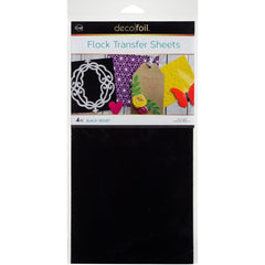 Deco Foil Flock Transfer Sheets 6inch X12inch 4 pack - Black Velvet