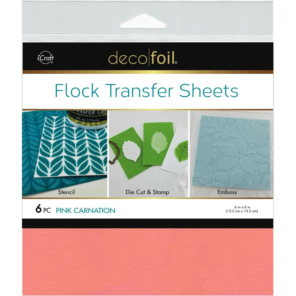 Therm O Web - Deco Foil Flock Transfer Sheets 6 inchX6 inch 6 pack - Pink Carnation
