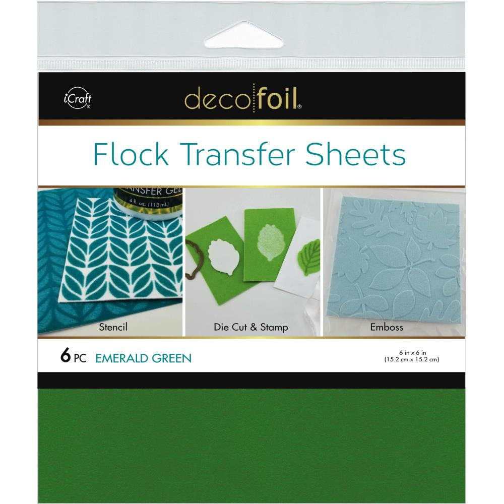 Deco Foil Flock Transfer Sheets 6 inchX6 inch 6 pack - Emerald Green
