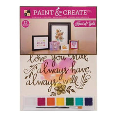 Diecuts With A View - Paint & Create Watercolor Kit 11.5 Inch X15 Inch - Heart Of Gold W/Gold Foil
