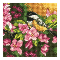 Dimensions Mini Needlepoint Kit 5 inch X5 inch Chickadee In Pink Stitched In Thread