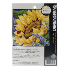 Dimensions Mini Needlepoint Kit 5X5 Sunflower & Ladybug Stitched In Thread