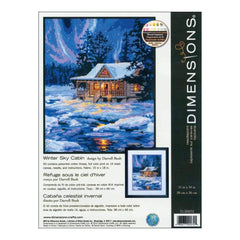 Dimensions Needlepoint Kit 11 inch X14 inch Winter Sky Cabin Stitched In Thread