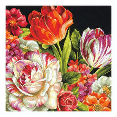 Dimensions Needlepoint Kit 14 inch X14 inch Bouquet On Black Stitched In Thread