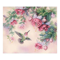 Dimensions Stamped Cross Stitch Kit 14 inch X12 inch Hummingbird & Fuchsias
