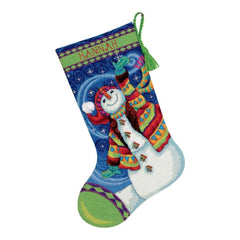 Dimensions Stocking Needlepoint Kit 16 inch Long Happy Snowman Stitched In Wool & Thread