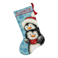 Dimensions Stocking Needlepoint Kit 16 inch Long Hugging Penguins Stitched Wool & Thread