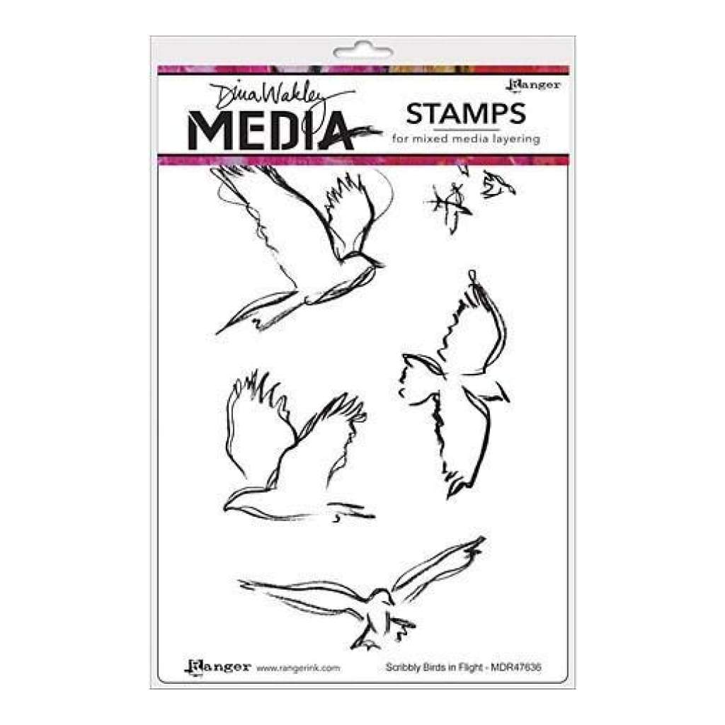 Dina Wakley Media Cling Stamps 6 Inch X9 Inch  - Scribbly Birds In Flight