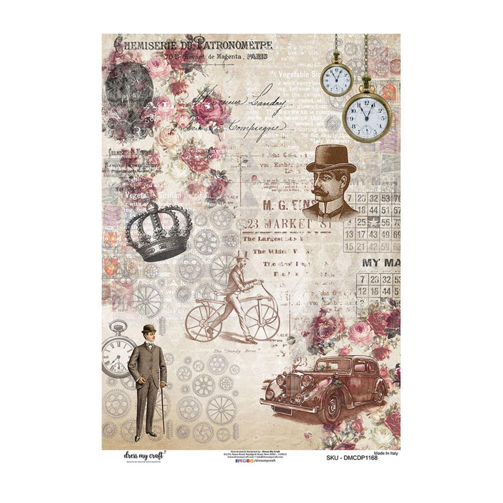 Dress My Craft Decopatch Rice Paper A3 - Cogs In Time