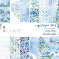 Dress My Crafts Single-Sided Paper Pad 6inch X6inch 24 pack Hydrangea Lawns, 12 Designs/2 Each