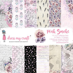 Dress My Crafts - Single-Sided Paper Pad 12 inch X12 inch 24 pack - Pink Smoke, 12 Designs/2 Each