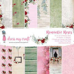 Dress My Crafts - Single-Sided Paper Pad 12 inch X12 inch 24 pack - Romantic Roses, 12 Designs/2 Each