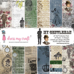 Dress My Craft Single-Sided Paper Pad 6 inch X6 inch 24 pack The Gentleman, 12 Designs/2 Each