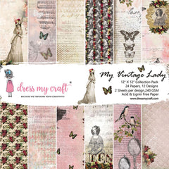 Dress My Crafts Single-Sided Paper Pad 12in X 12in 24 pack - My Vintage Lady