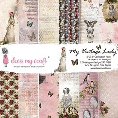 Dress My Crafts Single-Sided Paper Pad 6in X 6in 24 pack - My Vintage Lady
