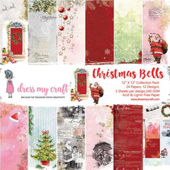 Dress My Craft Single-Sided Paper Pad 12 inch X12 inch 24 pack Christmas Bells, 12 Designs/2 Each